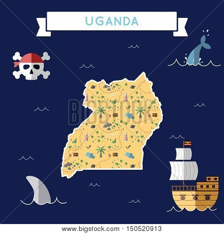 Flat Treasure Map Of Uganda. Colorful Cartoon With Icons Of Ship, Jolly Roger, Treasure Chest And Ba