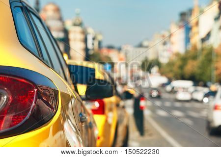 The taxi cars waiting for customers. Wenceslas Square in Prague Czech Republic. - selective focus