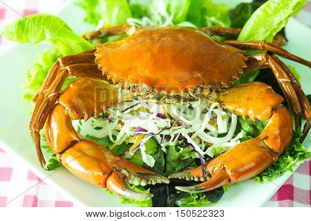 Crab seafood on dish in Singapore Restaurant delicious dinner food