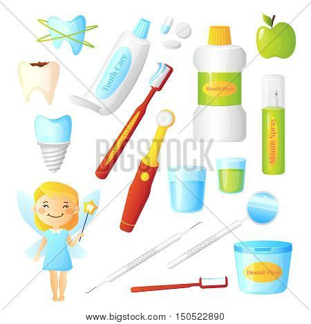 Flat dentist set for dental care hygiene and healthy teeth with tooth fairy and equipment isolated on white background vector illustration