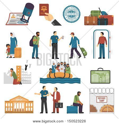 Immigration isolated color icons set with refugees sailing in boat escaped from war refugee camp embassy building vector illustration poster