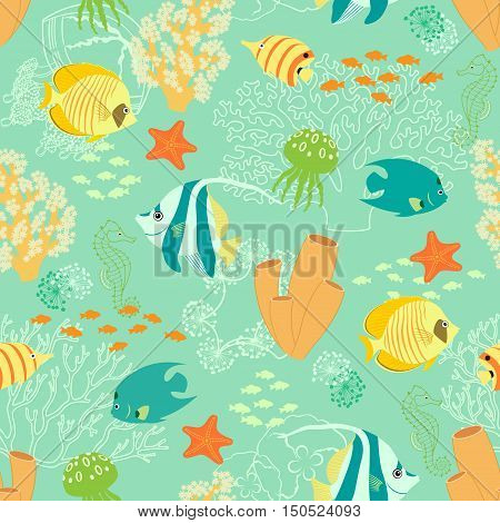 Seamless pattern with corals, fishes, jellyfishes, sea horses and sea stars.