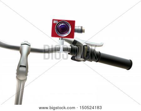 Handlebar red motion video camera and bike realistic vector illustration