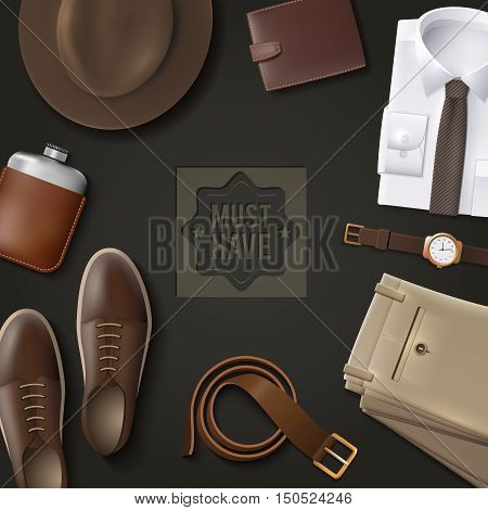 Men wear must have concept with leather belt and hat on dark background cartoon isolated vector illustration