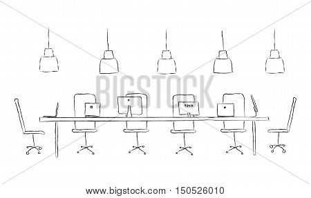 Vector sketch illustration coworking center concept. Black and white interior line. Working place without people. Modern coworking. Laptop pc network table display computer chair lamp coffee