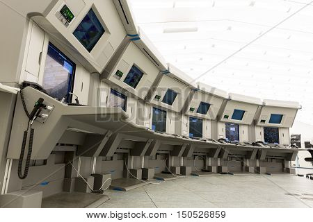 Sofia Bulgaria - September 12 2016: Bullgaria's Air Traffic Services Authority control center room. No people.