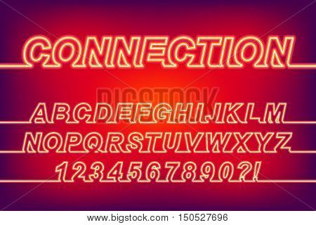 Neon Glow Connection One Line Font, latin alphabet letters and arabic numbers