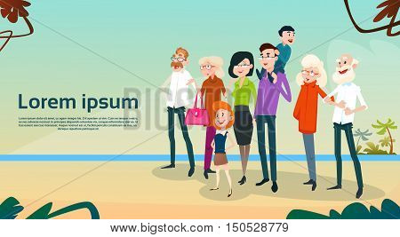 Big Family Kids Parents Grandparents On Seaside Vacation Summer Holiday Flat Vector Illustration