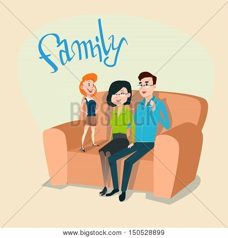Happy Family Parents With Daughter Sit On Couch Flat Vector Illustration