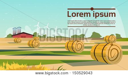 Agriculture And Farming, Field With Wind Turbine Farmland Countryside Landscape Flat Vector Illustration