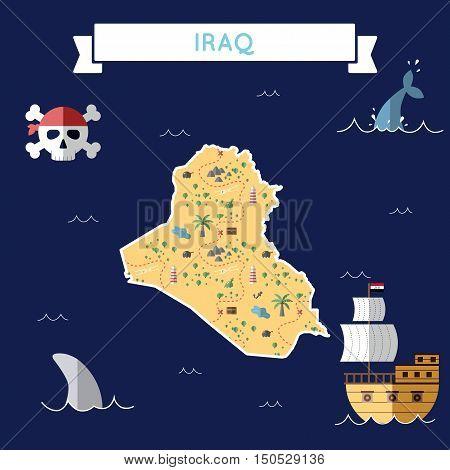 Flat Treasure Map Of Iraq. Colorful Cartoon With Icons Of Ship, Jolly Roger, Treasure Chest And Bann