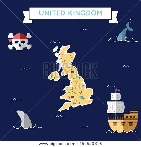 Flat Treasure Map Of United Kingdom. Colorful Cartoon With Icons Of Ship, Jolly Roger, Treasure Ches