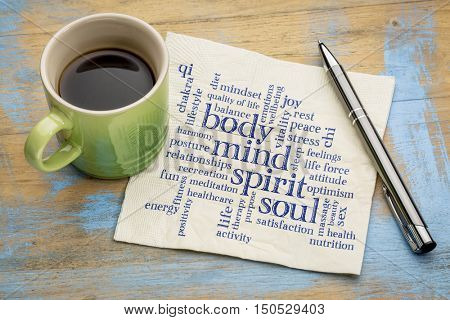 mind, body, spirit and soul concept  - word cloud on a napkin with a cup of coffee