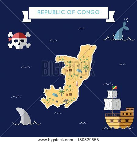 Flat Treasure Map Of Congo. Colorful Cartoon With Icons Of Ship, Jolly Roger, Treasure Chest And Ban