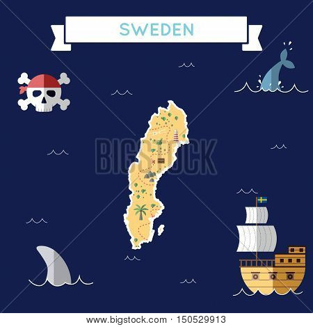 Flat Treasure Map Of Sweden. Colorful Cartoon With Icons Of Ship, Jolly Roger, Treasure Chest And Ba