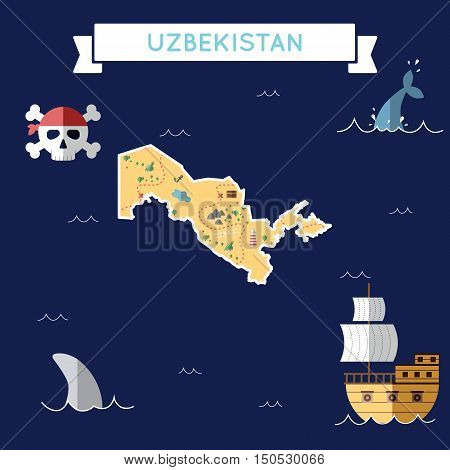Flat Treasure Map Of Uzbekistan. Colorful Cartoon With Icons Of Ship, Jolly Roger, Treasure Chest An