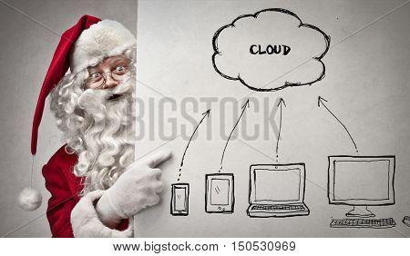 Santa Claus using technology