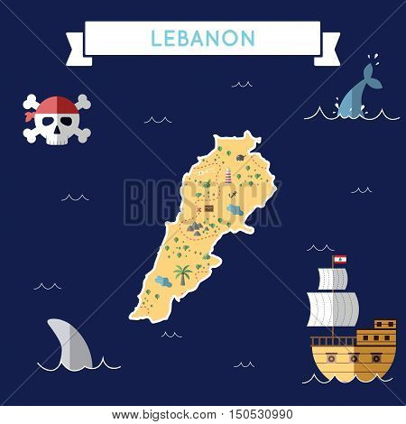 Flat Treasure Map Of Lebanon. Colorful Cartoon With Icons Of Ship, Jolly Roger, Treasure Chest And B