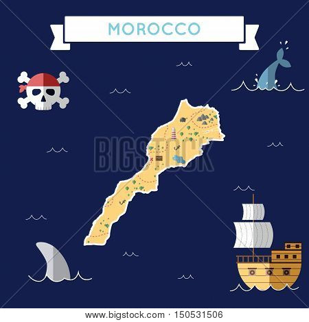 Flat Treasure Map Of Morocco. Colorful Cartoon With Icons Of Ship, Jolly Roger, Treasure Chest And B