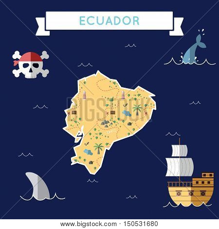 Flat Treasure Map Of Ecuador. Colorful Cartoon With Icons Of Ship, Jolly Roger, Treasure Chest And B