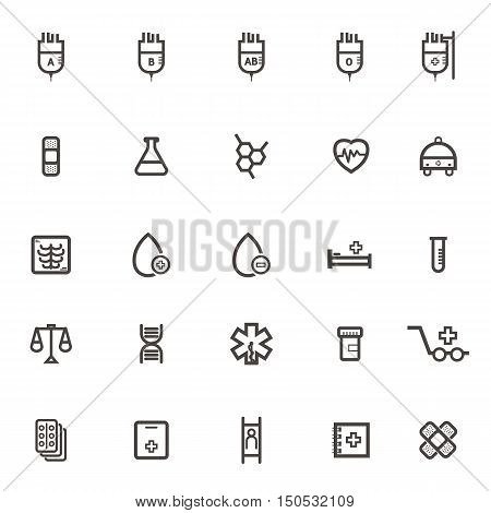 vector Medical Icons Brine plaster vitro cardiac ambulance stretcher patient X-ray dose monitor records patient beds genetic blood. on white background