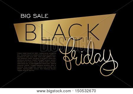 vector illustration of black friday banner with hand lettering golden word - friday. big sale advertising.