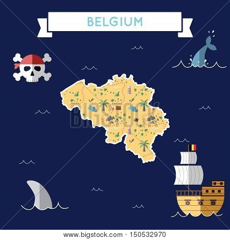 Flat Treasure Map Of Belgium. Colorful Cartoon With Icons Of Ship, Jolly Roger, Treasure Chest And B
