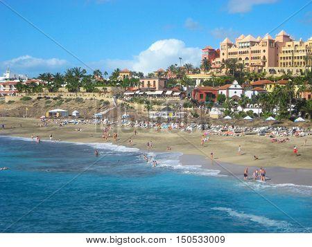 Beautiful El Duque beach in Costa Adeje. Tenerife. Canary islands Spain