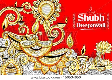 illustration of burning diya on happy Holiday doodle background for light festival of India with message Shubh Diwali meaning Happy Diwali