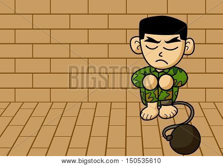 art prisoner army man cartoon on brick wall illustration