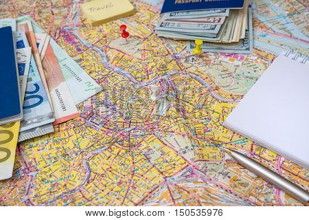 Travel or tourism concept - money, map, blank, pen