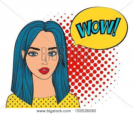 WOW bubble pop art style. Woman with speech bubble. Fashion beautiful woman with blue hair. Girl says WOW. Comic girl vector illustration isolated on white background