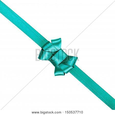 Blue satin ribbon tied in a bow isolated on white background.Packaging and decoration for holiday gift or present.