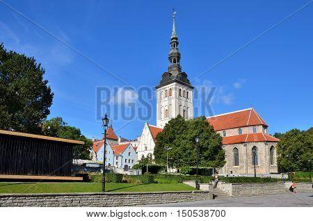 Tallinn Estonia - September 06 2016: St. Nicholas Church (Niguliste kirik) in old town of Tallinn at sunny day.