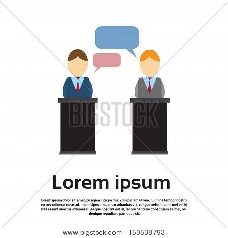 Business Man Leaders President Press Conference Flat Vector Illustration