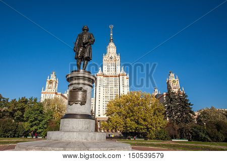 Moscow State University, MSU, and monument to its founder Mikhail Lomonosov
