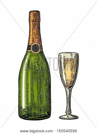 Champagne glass and bottle. Vintage color vector engraving illustration for web poster invitation to party. Hand drawn design element isolated on white background.