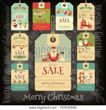 Christmas Sale Tags in Retro Style on Blackboard. Chalk Text. Winter Sell-out Labels Collection. Vector Illustration.