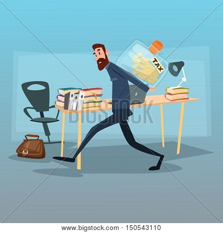 Business Man Carry Money Tax Concept Flat Vector Illustration