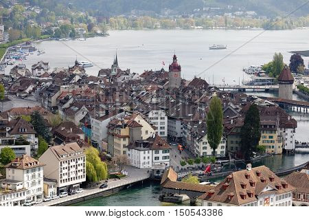 LUCERNE SWITZERLAND - MAY 04 2016: Aerial view towards Lucerne's old town shows the location of the city by the river Reuss and the Lake Lucerne