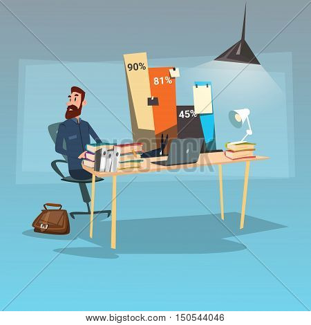 Business Man Sitting Desk Statistic Data Finance Graph Bar Office Workplace Flat Vector Illustration