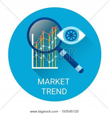 Market Trend Icon Financial Graph With Magnifier Flat Vector Illustration