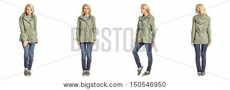 Young beautiful blondewoman in olive parka isolated
