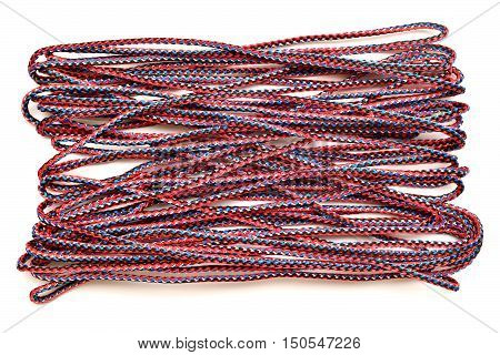 Color rope isolated on white background. Macro, purple.