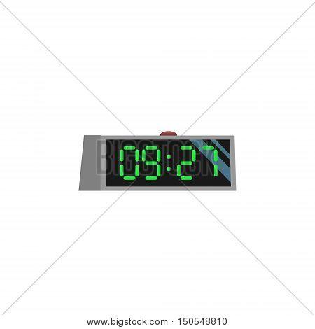 Image electronic alarm clock of flat style. Clock of cartoon design illustration