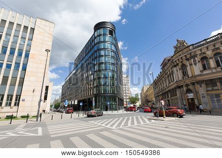 WARSAW POLAND - JUNE 11 2016: Modern skyscraper that is named Astoria Premium Office Building was built in the downtown and its construction was completed in 2016
