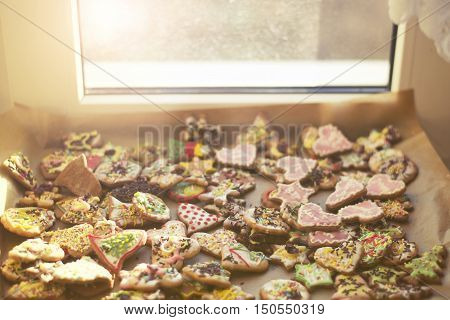 Drying Mixed Christmas Cookies Under The Window