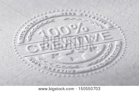 3D illustration of a stamp embossed on a paper texture with the text one hundred percent creative horizontal image. Communication concept for creative advertising company