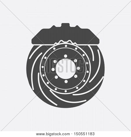 Brake shoe icon black style. Single silhouette auto parts icon from the big car black - stock rastr