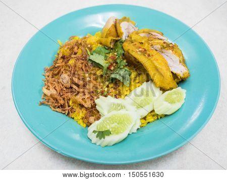 Chicken Biryani thai style in dish.(Khao Mok Gai)